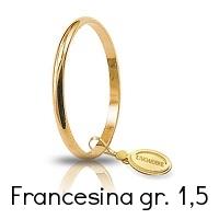Fede Nuziale Unoaerre Classica Francesina Oro Giallo Grammi 1,5 Referenza: 15AFN4