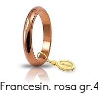 Fedi Nuziali Unoaerre Classica Oro Rosa Grammi 4 mm 3 Francesina Referenza: 40 AFN4R