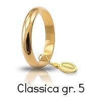 Fedi Nuziali Unoaerre Classica Oro Giallo grammi 5 fascia stretta mm 3,6 Referenza: 50AFN1