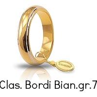 Fedi Nuziali Unoaerre Classica bordi rodiati gr 7,0 Oro giallo e bianco 4,5 mm 70 AFN 1/01