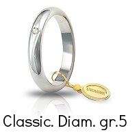 Fede Nuziale Unoaerre Classica grammi  5,0 Oro Bianco con diamante 50 AFN 1/001