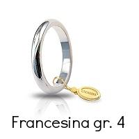 Fede  Nuziale Unoaerre Classica Oro Bianco 4 Grammi mm 3,0 Francesina Referenza: 40 AFN4B