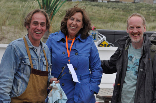 Tony Robinson with artists Rob Jacobs and Carola Schapels in Noordwijk, Holland. June 2014