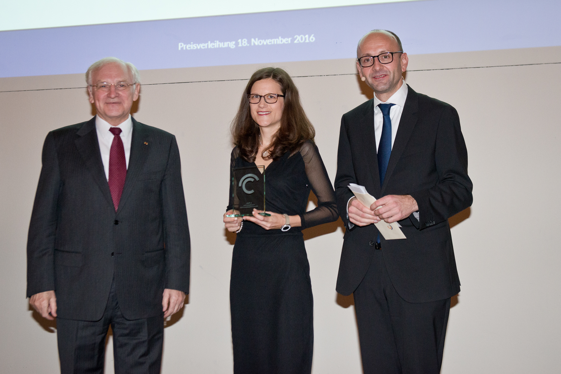 Prof. Siegfried Beck, Dr Andrea Braun (2nd prize), Prof. Lucas F. Flöther
