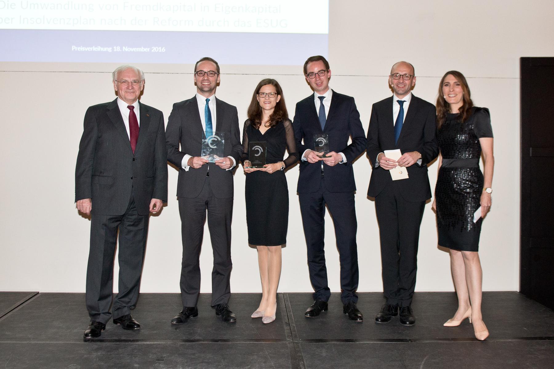 Prof. Dr. Siegfried Beck, Dr. Florian Bartels (1. Preis), Dr. Andrea Braun (2. Preis), Dr. Helge Pühl (3. Preis), Prof. Dr. Lucas F. Flöther, Anja Kohl