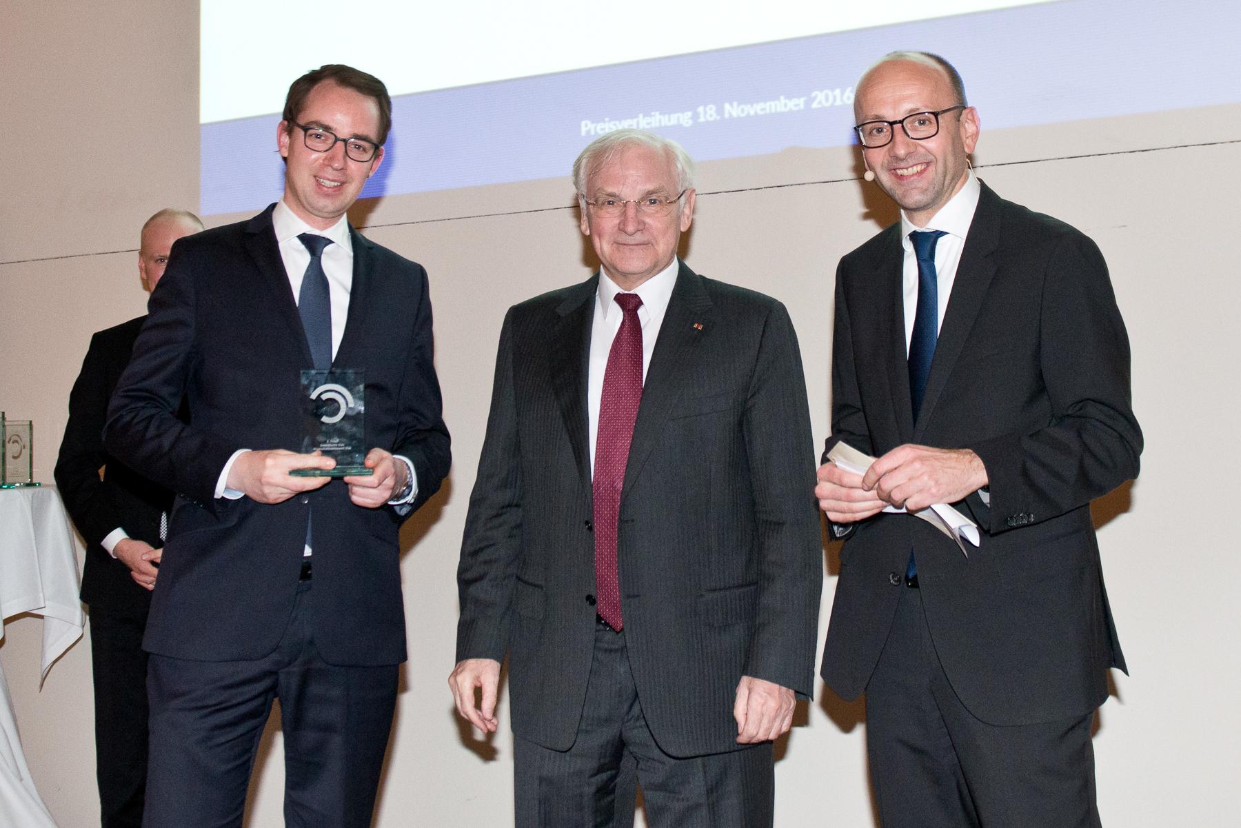 Dr. Helge Pühl (3. Preis), Prof. Dr. Siegfried Beck, Prof. Dr. Lucas F. Flöther
