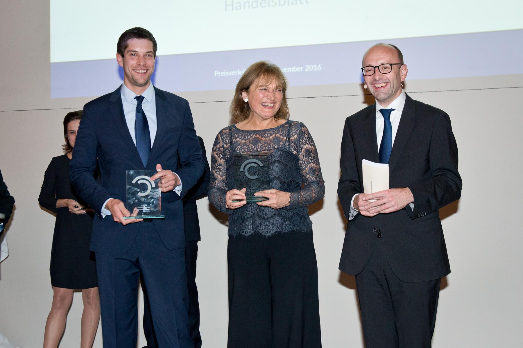 Andreas Dörnfelder (1. Preis), Gertrud Hussla (1. Preis), Prof. Dr. Lucas F. Flöther