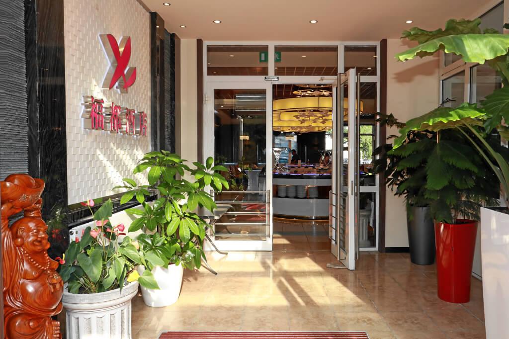 Eingang Chinarestaurant Fudu beim Hotel Danner