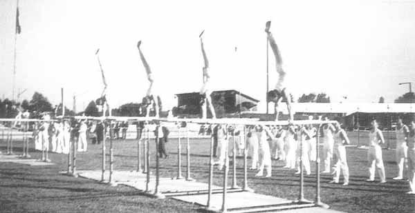 Verbandsturnfest 1965 in Zug. Unsere Sektion am Barren 1. Stufe