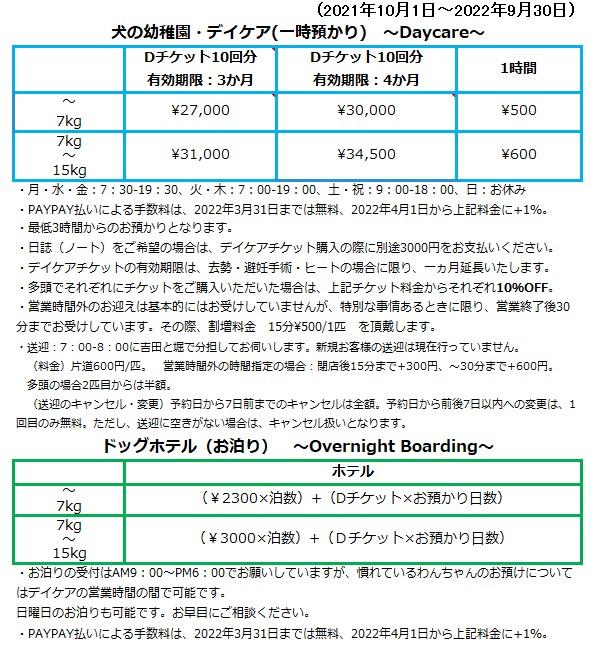 料金の改定について(10.1.2021~)