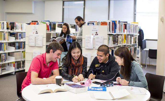 エンバシー・イングリッシュ(シドニー校) 図書室での自習風景