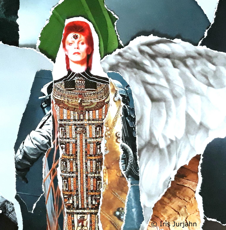 Bowie, Papiercollage, 32 x 42 cm  (inkl. Objektrahmen), 2019