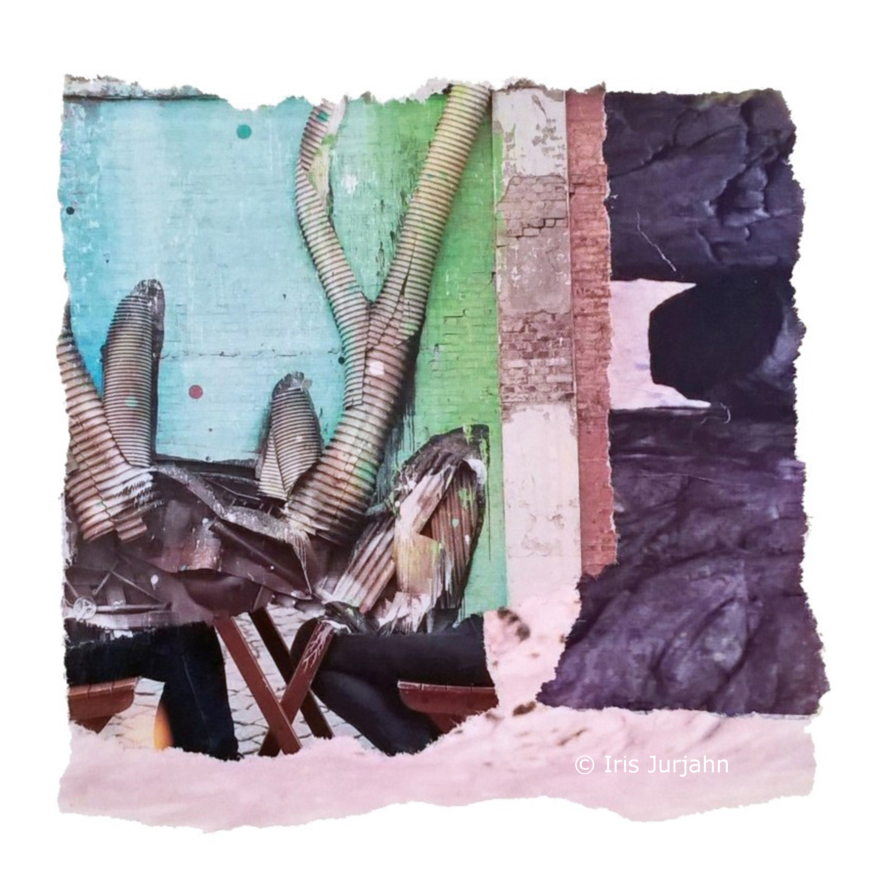 My deer, Papiercollage, 17,5 x 17,5 cm, 2017 - sold