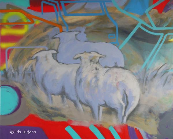 Sheep, myself and I, acrylic on canvas, 100 x 120 cm, 2015