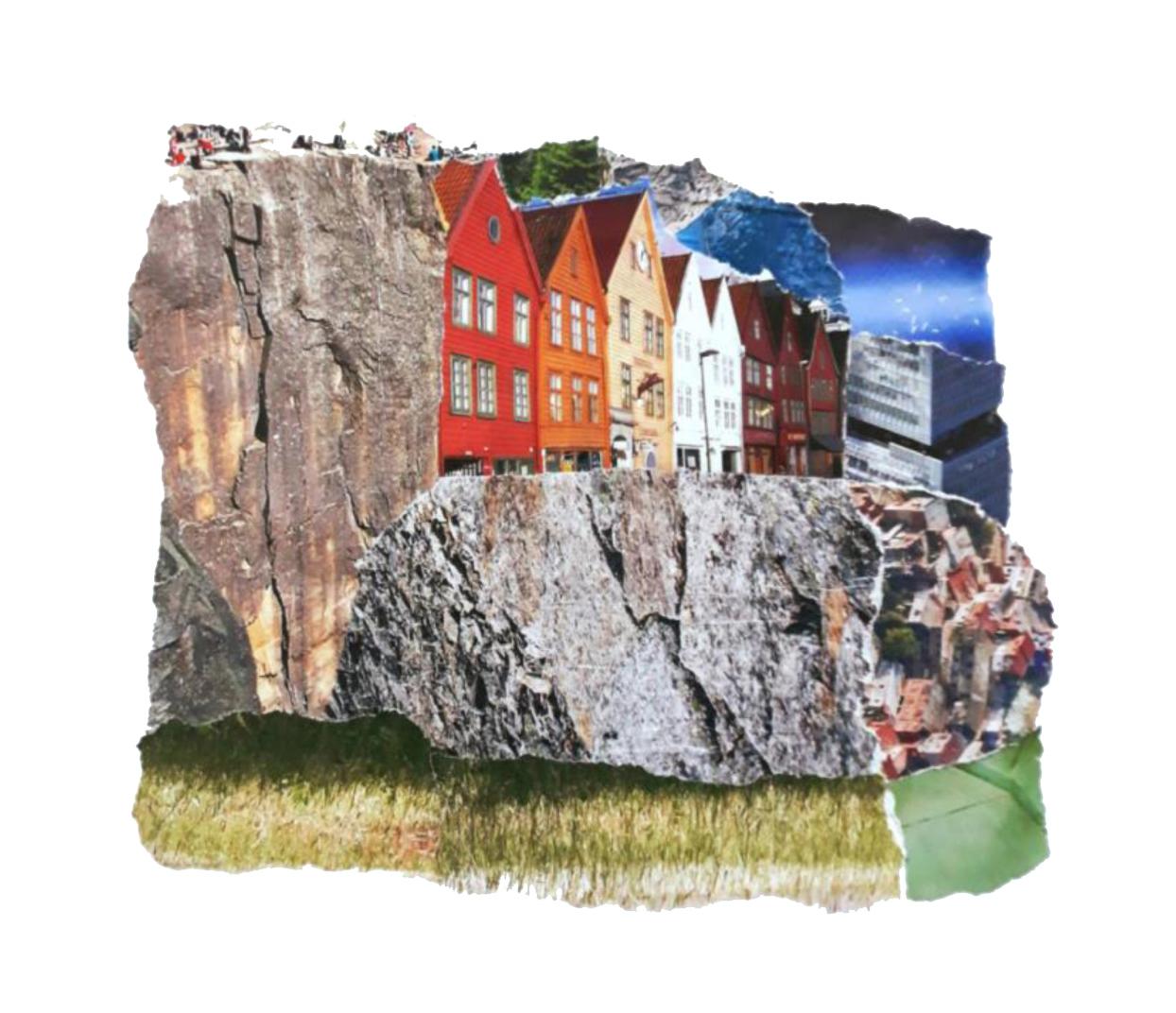 On the rocks, Papiercollage, 20 x 26 cm (inkl. Objektrahmen), 2019