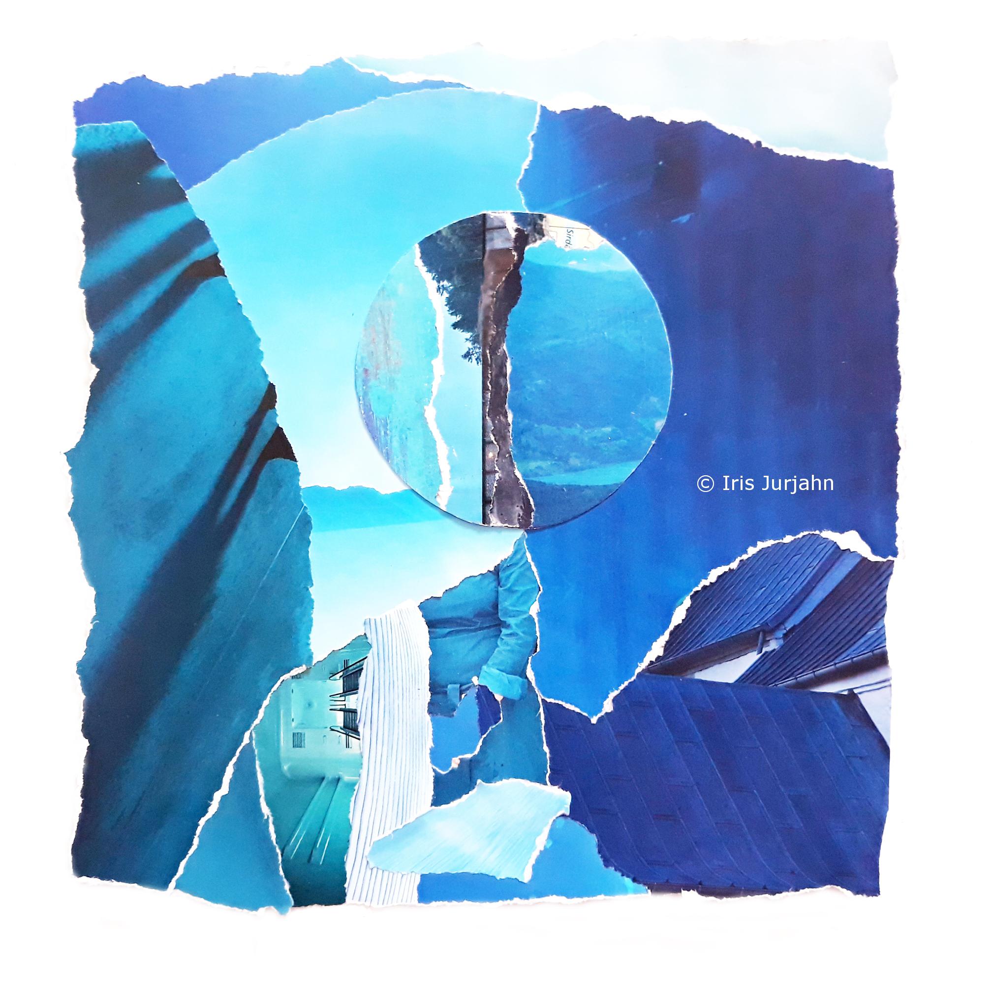 Blue escape, Papiercollage, 26 x 32 cm  (inkl. Objektrahmen), 2019