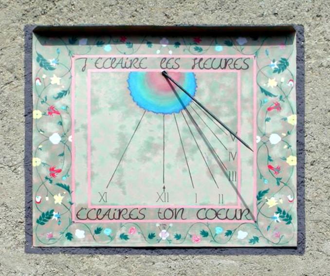 Corcelles : à Ferrières - maison Balland. Cadran déclinant de l'après-midi, peint