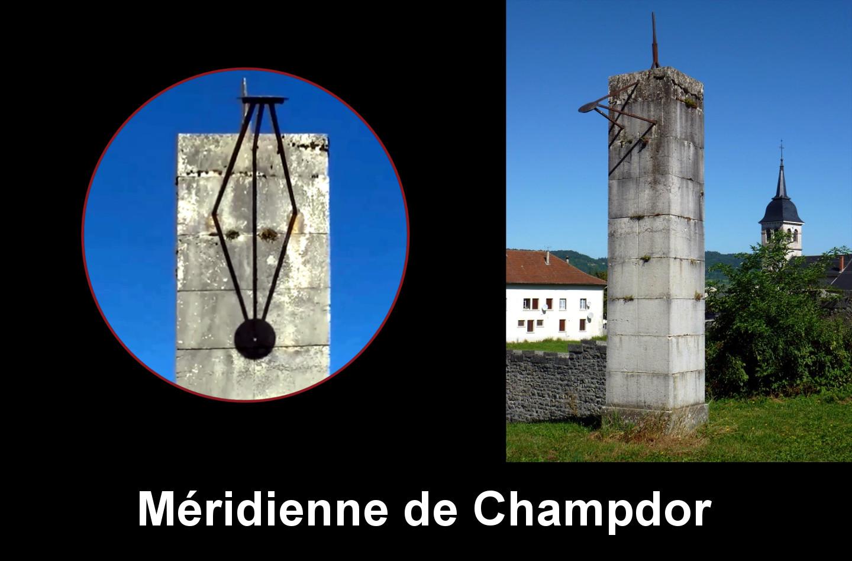 Champdor : château parc, sur colonne. Méridienne de temps vrai gravée sur pierres tripode avec disque à œilleton.