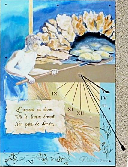 Brénod : boulangerie. Cadran déclinant de l'après-midi, gravé et peint sur panneau, lignes chiffrées en bout décor : boulanger enfournant le pain style polaire terminé par pelle