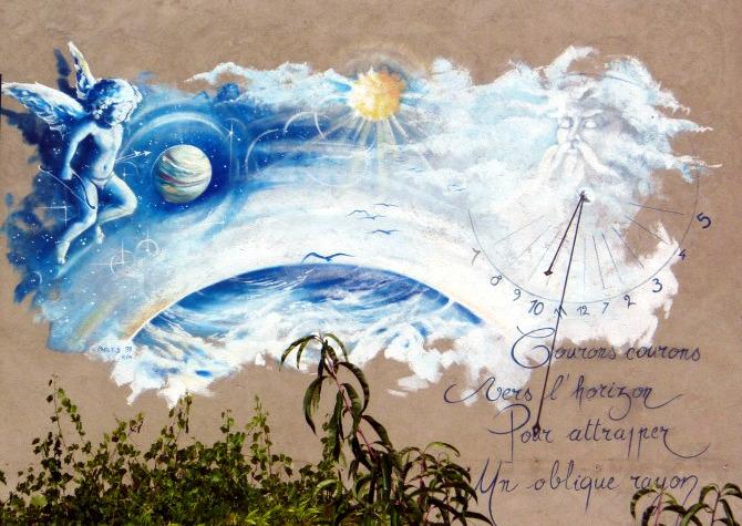 Evosges : Auberge. Cadran déclinant du matin, peint sur crépi fresque, lignes chiffrées, style polaire lancéolé, œilleton