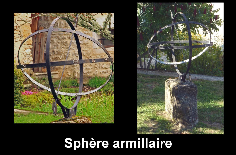 Corcelles : Ferrière, mais aussi Champdor et Hauteville-Lompnes. jardin : sphère armillaire, métallique, cercles méridien, horizon, équateurs, chiffres, style fléché et empenné