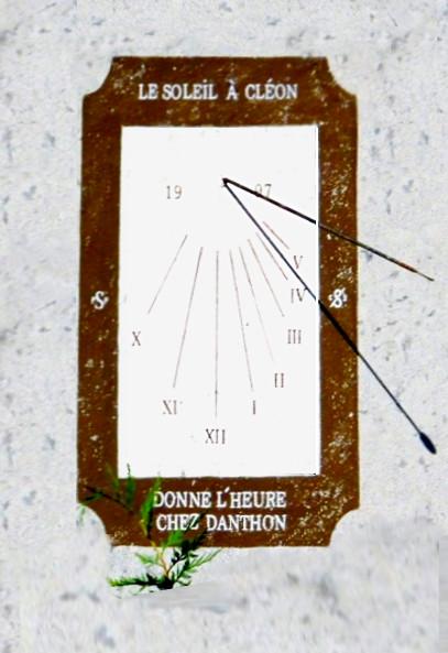 Corcelles : à Cléon - maison Fr. Danthon.  Cadran déclinant de l'après-midi, peint sur le mur lignes chiffrées en bout, style polaire