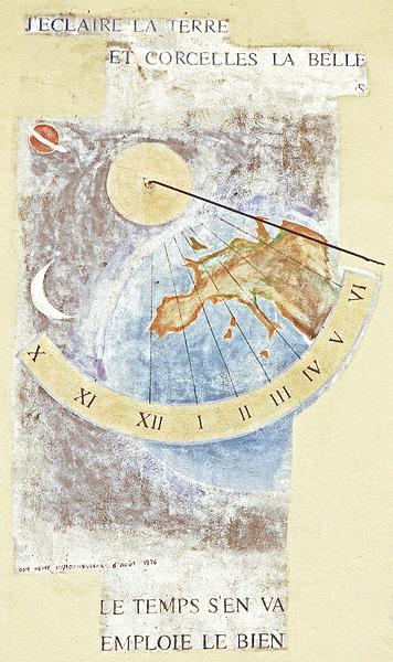 Corcelles : maison Brunet. Cadran déclinant de l'après-midi, gravé et peint sur mur lignes chiffrées dans bandeau arqué, style polaire issu d'un disque