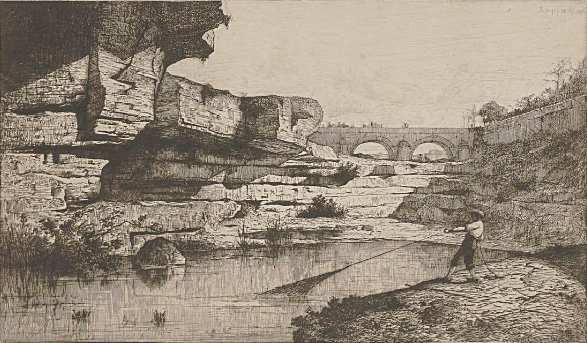 """Eaux Forte d'Adolphe Appian """"Le pont de Nantuy"""" 1870"""