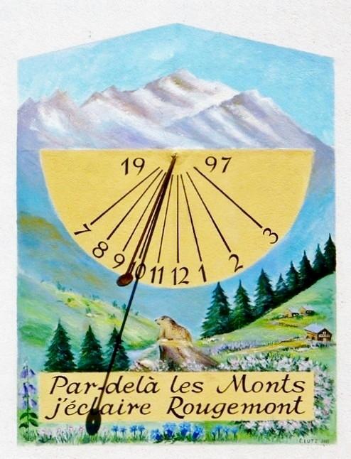 Aranc : A Rougemont, maison Germain Tenant. Cadran déclinant du matin, peint tracé dans un demi-cercle, lignes chiffrées en bout, paysage au centre style polaire lancéolé