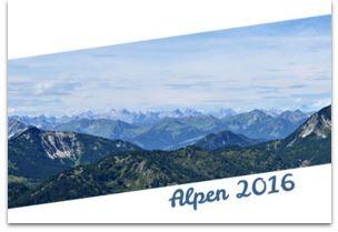 Alpenpanorama mit Aufschrift: Alpen 2016