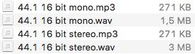 Stereo o mono gli mp3 pesano sempre uguali.