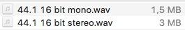 il file pcm mono pesano la metà del file stereo
