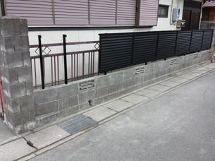 外溝フェンス設置工事②