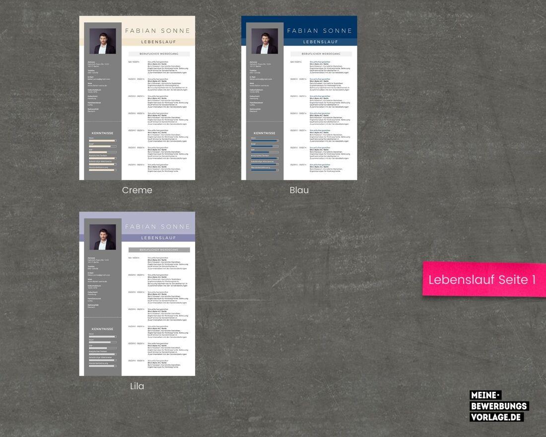 Lebenslauf Seite 1 Farbübersicht