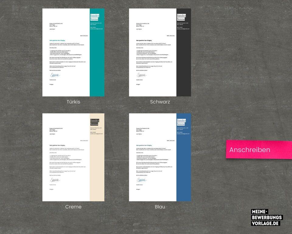 Bewerbungsschreiben Farbübersicht