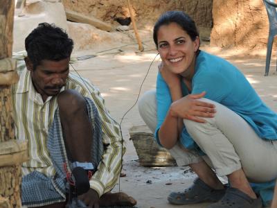 Dr Shakti Lamba running economic games at one of her fieldsites in Chhattisgarh, India