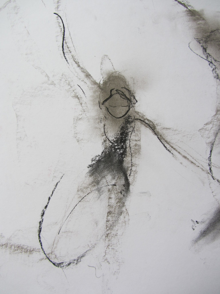 """Dessin au fusain faisant partie d'une toile à trois dessins de Micheline Reboulleau réalisée durant la 1e édition d' """"AFEDI"""", 6 Avril 2013. Collection des archives du Musée Rodin, Paris."""