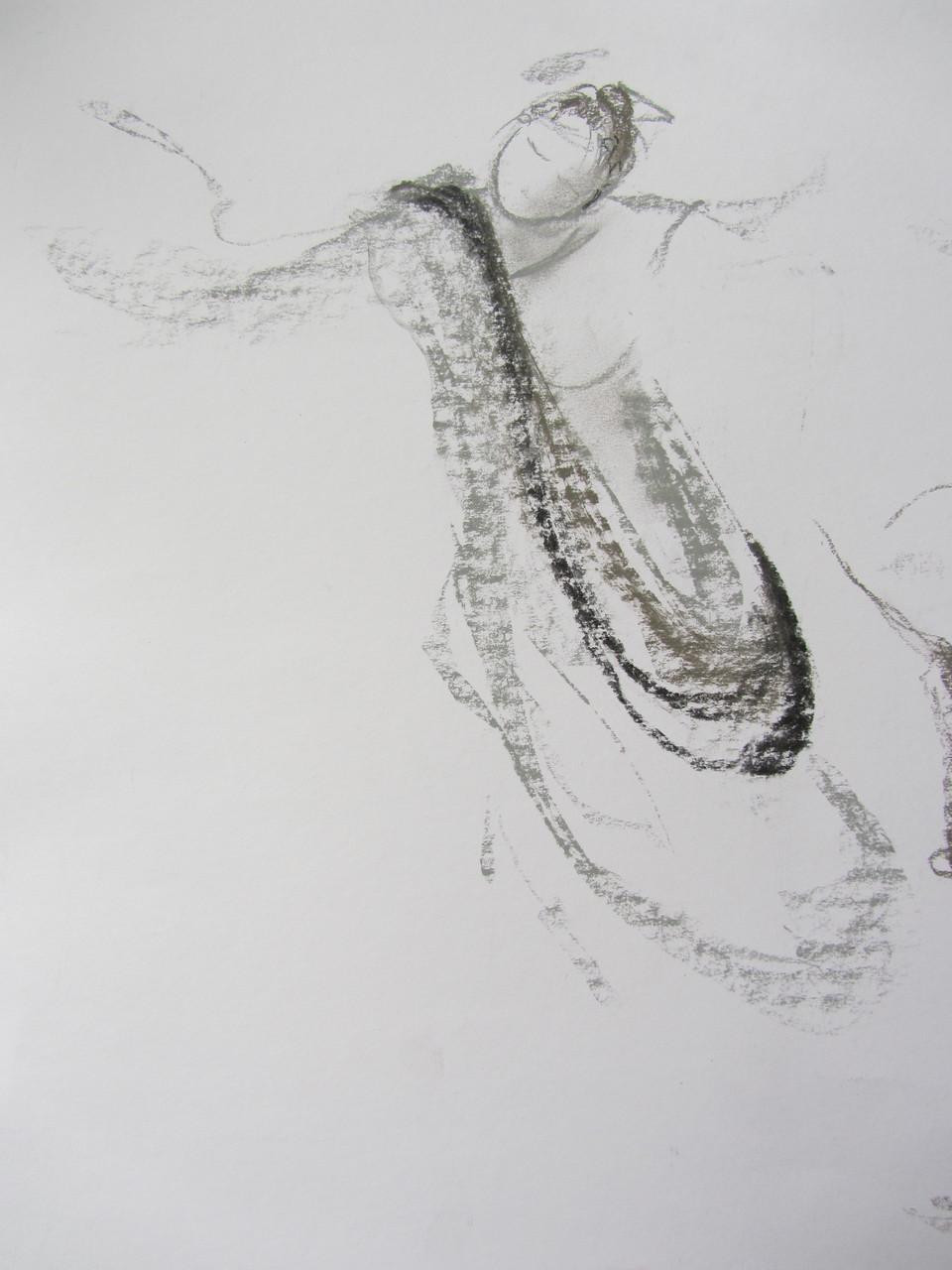 Esquisse au Fusain de Micheline Reboulleau réalisée durant la 1e édition d'AFEDI (Artistes Femmes venez Esquisser la Danse Isadorienne le 6 Avril 2013_ collection privée de l'artiste.