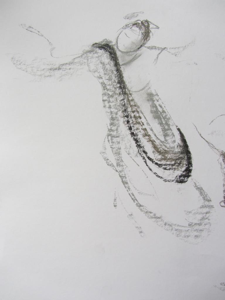 Dessin au fusain réalisée durant la première édition d'AFEDI, Collection de l'Artiste.