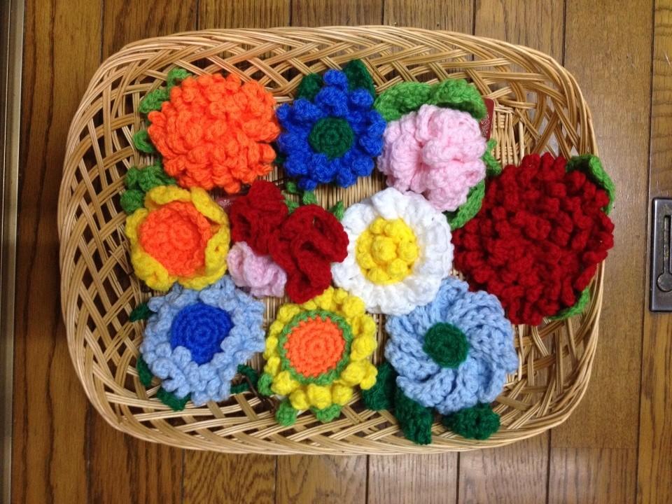 アクリルたわしのお花たち