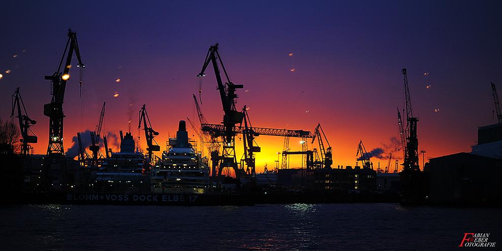 Hamburg, Hamburghafen, Sonnenuntergang, Blohm, Voss
