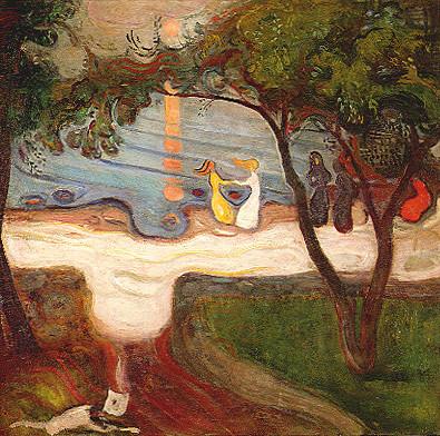 Baile en la orilla 1899-1900.La verticalidad de los árboles contrasta con la sinuosa costa y el reflejo de la luna sobre el agua, inspirado en el bosque de Fjustad,lugar cargado de simbolismo para el pintor.