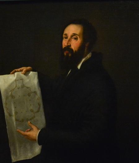 Tiziano. Retrato de Giullio Romano 1536-40. Óleo sobre lienzo.102x87cm.Museo de Mantua. Su intervención en el Palacio de Mantua fue decisiva.