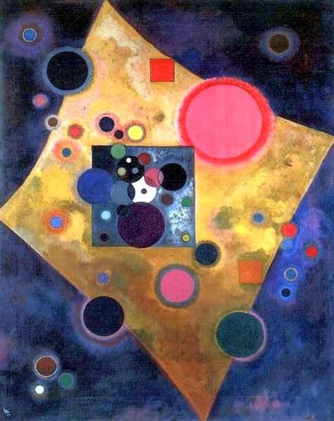 Acento en rosa,1926 desarrolló su idea sobre el color, muy amigo de paul Klee, deja su influencia en rombo de color amarillo que sugiere calidez.Ejemplo bello de círculos en torno a fondo azul, como eclipses de luna con delicados matices cromáticos.