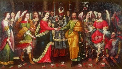 Anónimo Cuzqueño: Los Desposorios de la Virgen, finales S XVII.Museo de Arte de Lima,Perú