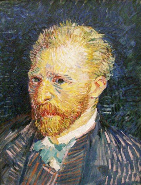 """Van Gogh.Portraite de l´artiste,1887.44x35cm Personaje de angustia y soledad extrema.""""El dibujo verdadero consiste en modelar el color"""" 40 veces retratado,venera a Rembrandt, a quien quisiera parecerse."""
