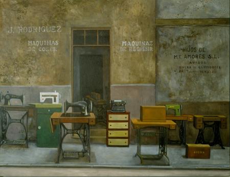 Amalia Avia.Tiendas de máquinas,1988.Óleo sobre tabla.89x116cm.Colección Familia Muñoz Avia.