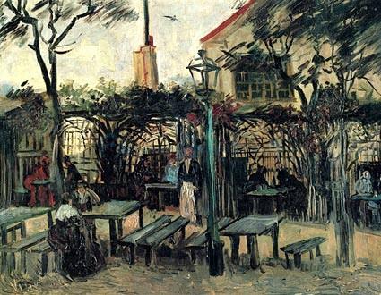 Vincent Van Gogh.La Guinguette á Montmartre,1886.Su lugar privilegiado en Paris,para pintores bohemios,apasionado por las leyes que rigen los colores,pincelada variada y sutil