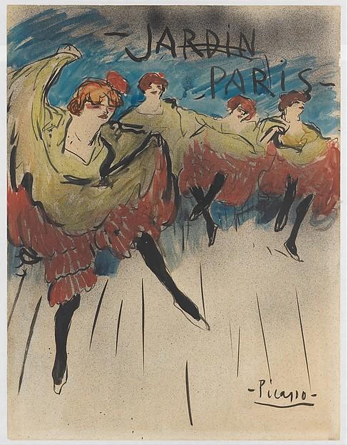 Picasso. Jardin de Paris.Diseño para cartel. Metropolitan Museum of Art. Nueva York. Picaso imitaba al resto de artistas como ilustrador.