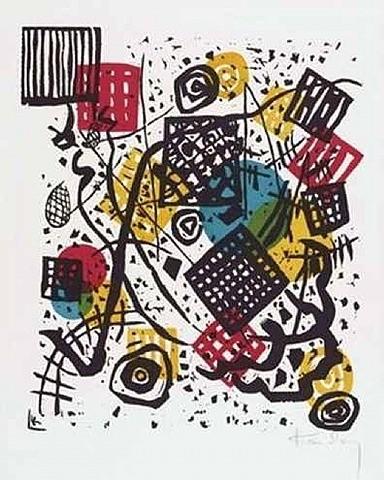 Pequeños mundos V.1922.Litografia en color,4 piedras:amarillo, rojo,azul y negro.Legado de Nina Kandinsky.